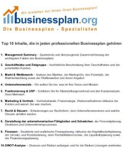 Die Top 10 Inhalte für einen Existenzgründer-Businessplan